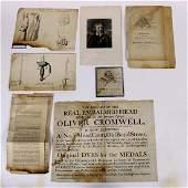(lot of 7) Ephemera group relating to Oliver Cromwell,