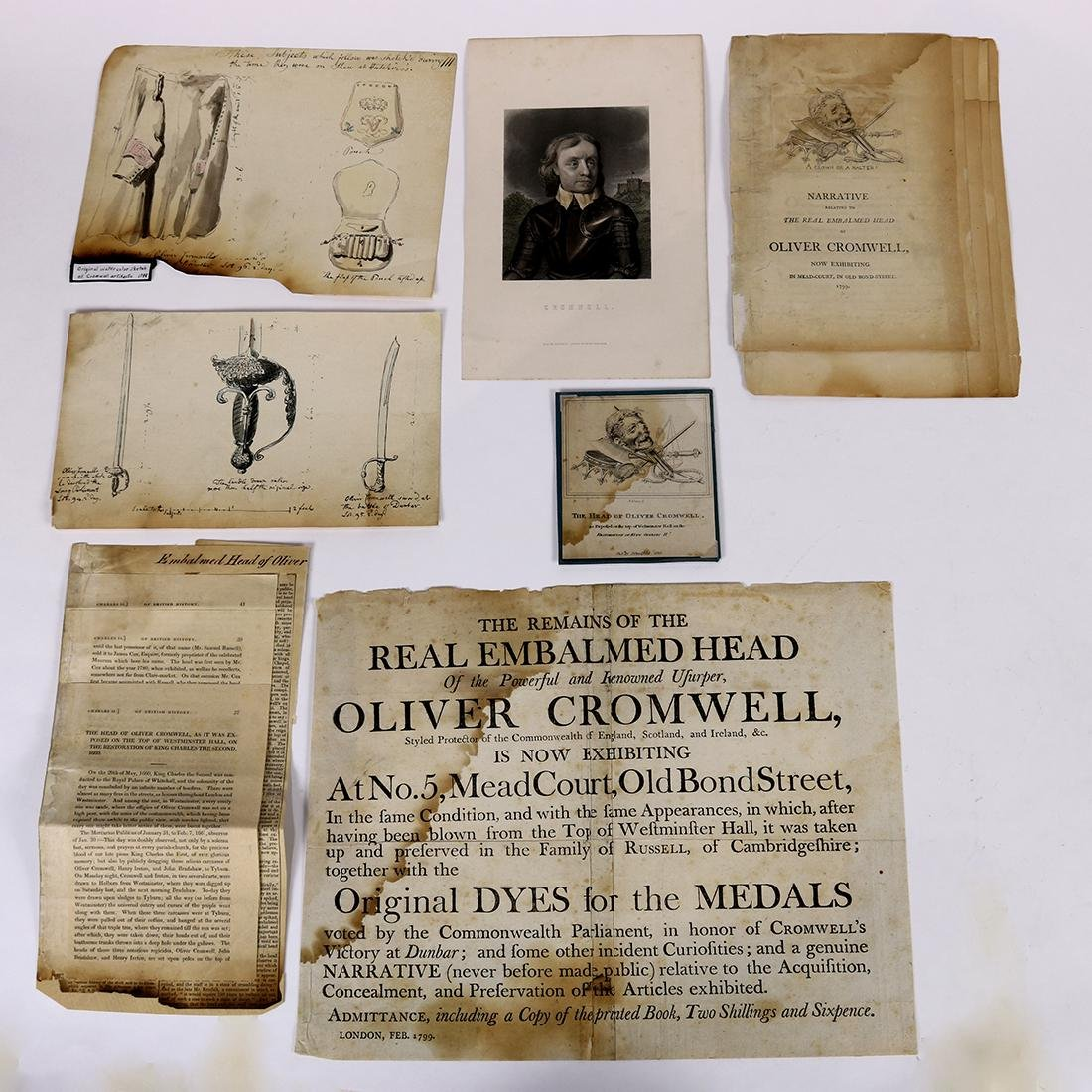 (lot of 7) Ephemera group relating to Oliver Cromwell,