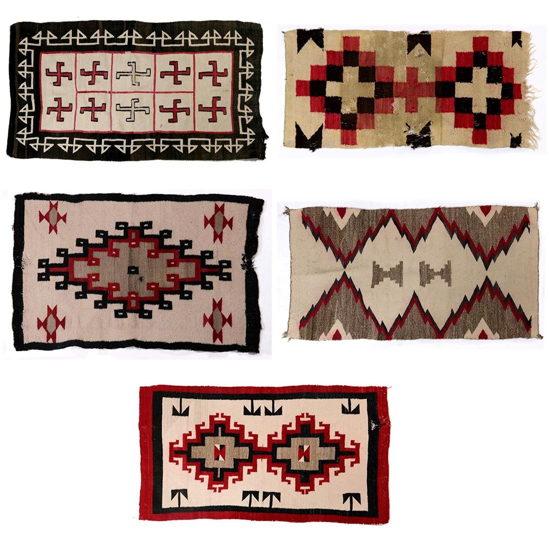 (lot of 5) Navajo rug group, in a variety of sizes and