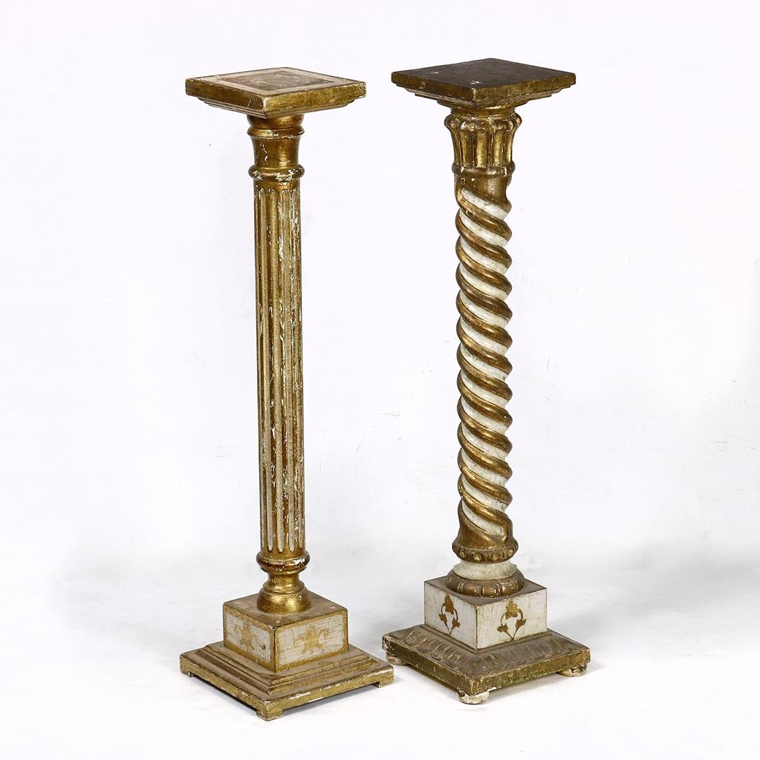 (lot of 2) Neoclassical style gilt and paint decorated
