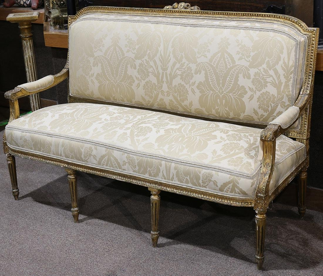 Louis XVI style giltwood carved settee circa 1870,