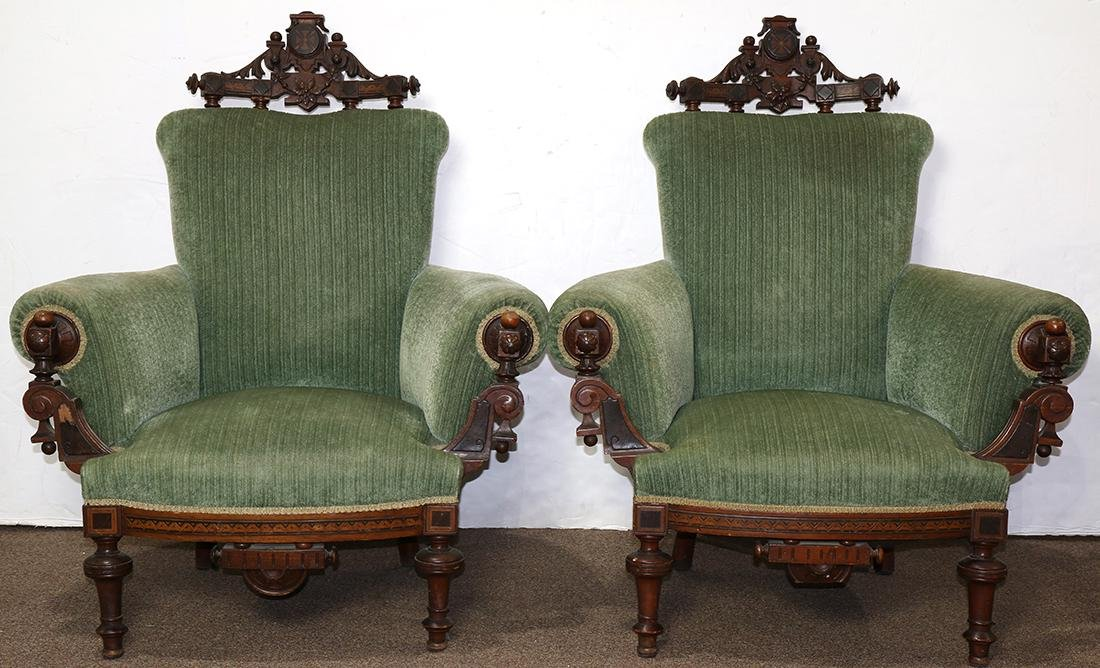 Pair of Victorian Renaissance Revival marquetry
