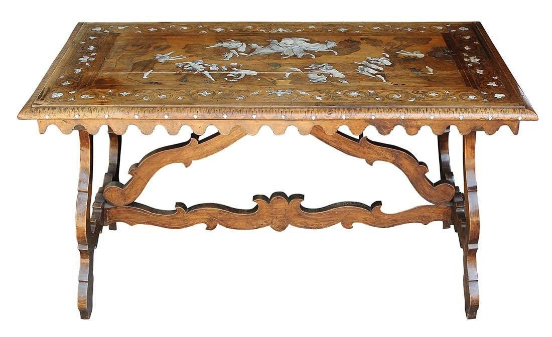 North Italian Baroque inlaid walnut center table