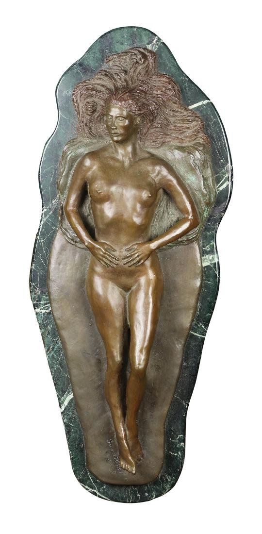 Art Nouveau style patinated bronze figural sculpture