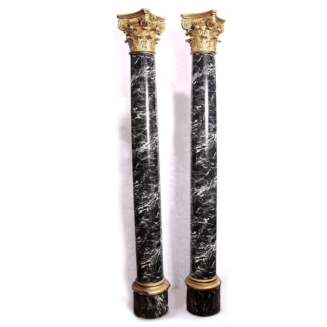 Pair of faux marble Corinthian columns