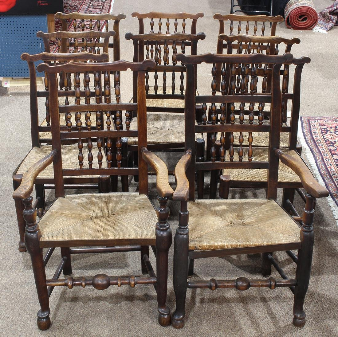 (lot of 10) English Lancashire dining chairs