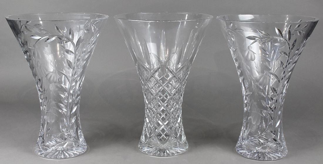 (lot of 3) Stuart crystal vase group