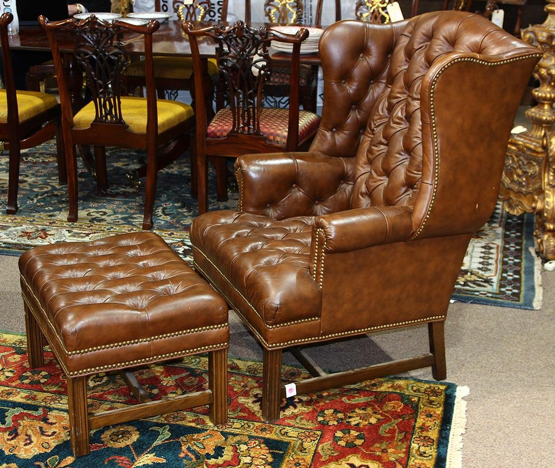(lot of 2) Georgian style leather wing back armchair