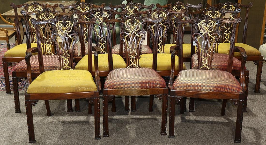 (lot of 12) Chippendale style dining chairs