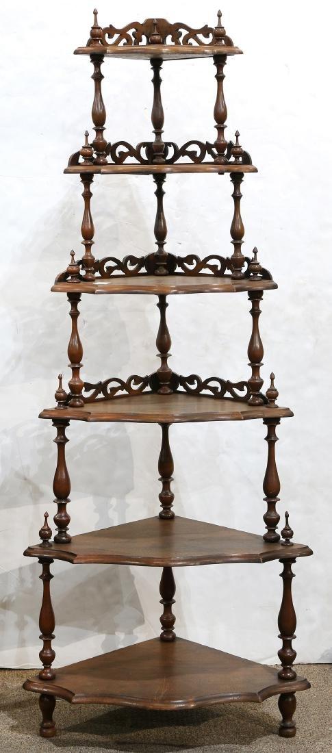 Victorian mahogany corner étagère