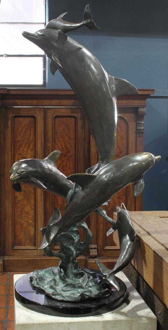 American School (20th century), Dolphins, 1996, bronze