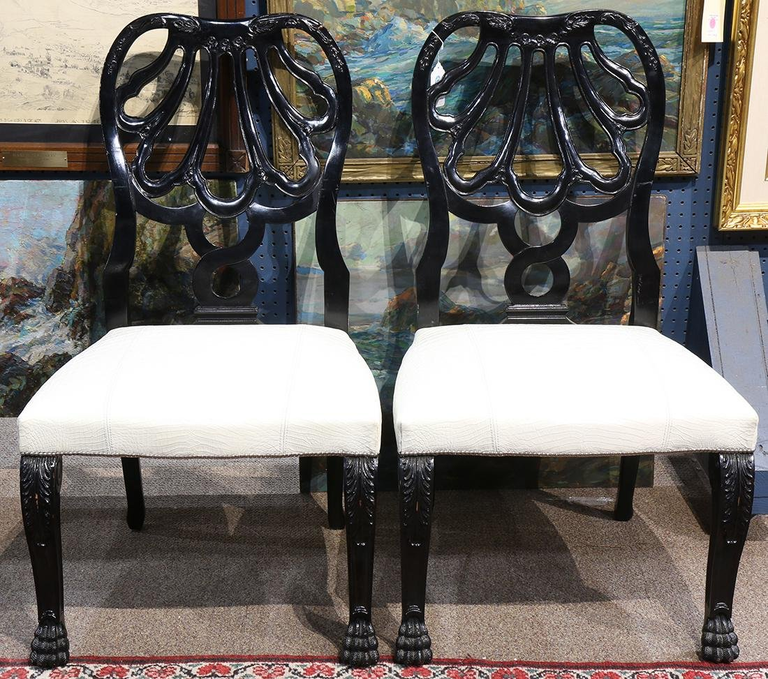 Pair of Moderne black lacquered chairs