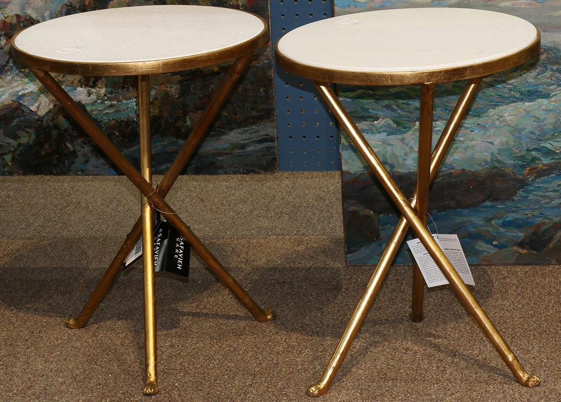 pair of Hollywood Regency style occasional tables