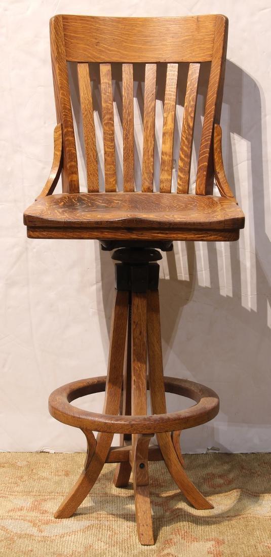Arts and Crafts oak drafting stool circa 1915