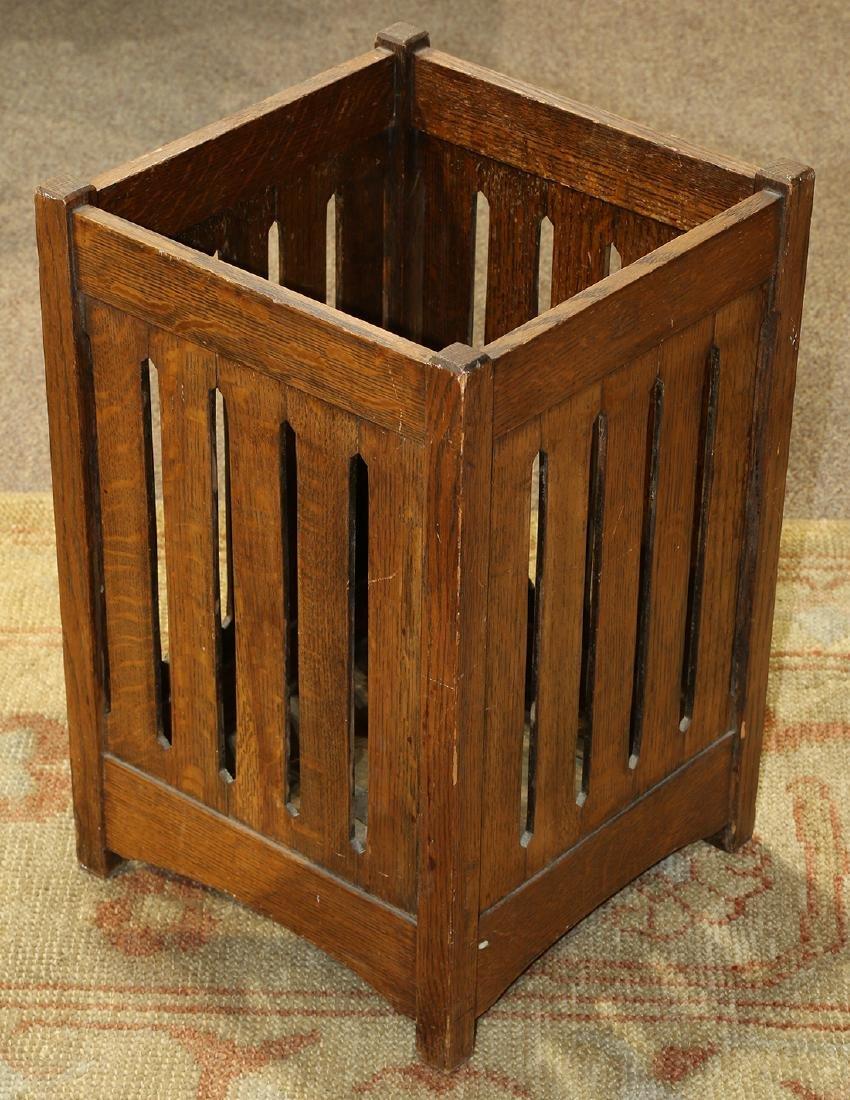 Arts and Crafts oak waste basket