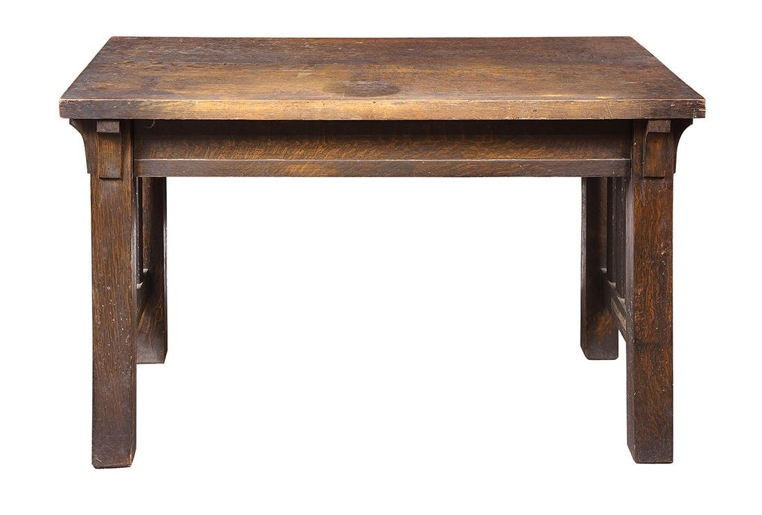 Arts and Crafts quartersawn oak library table