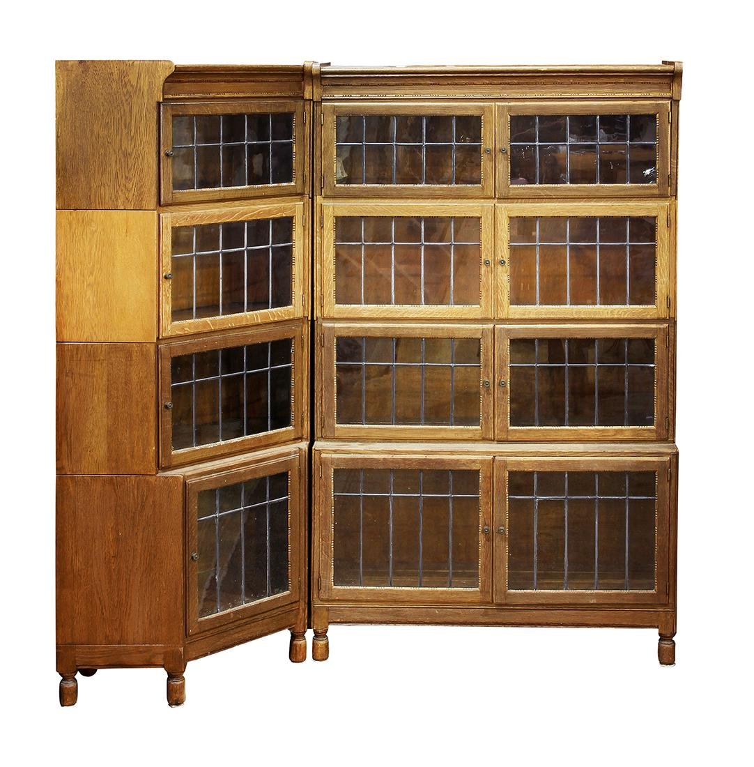 (lot of 2) Arts and Crafts oak barrister bookcases