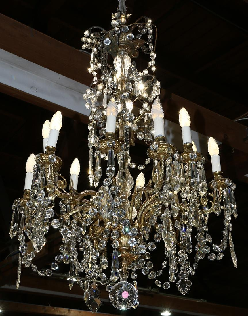 Continental crystal and gilt bronze chandelier
