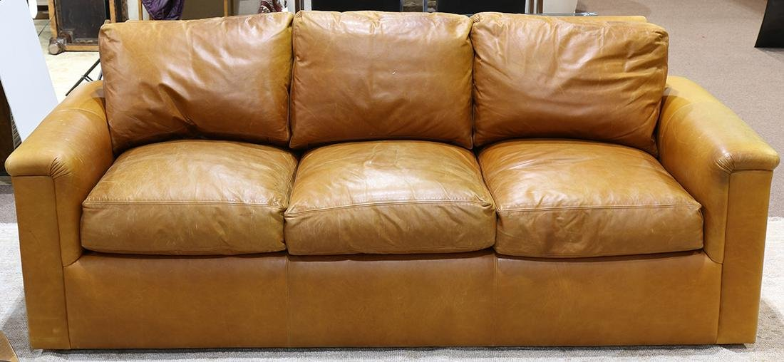 J. Robert Scott brown leather sofa