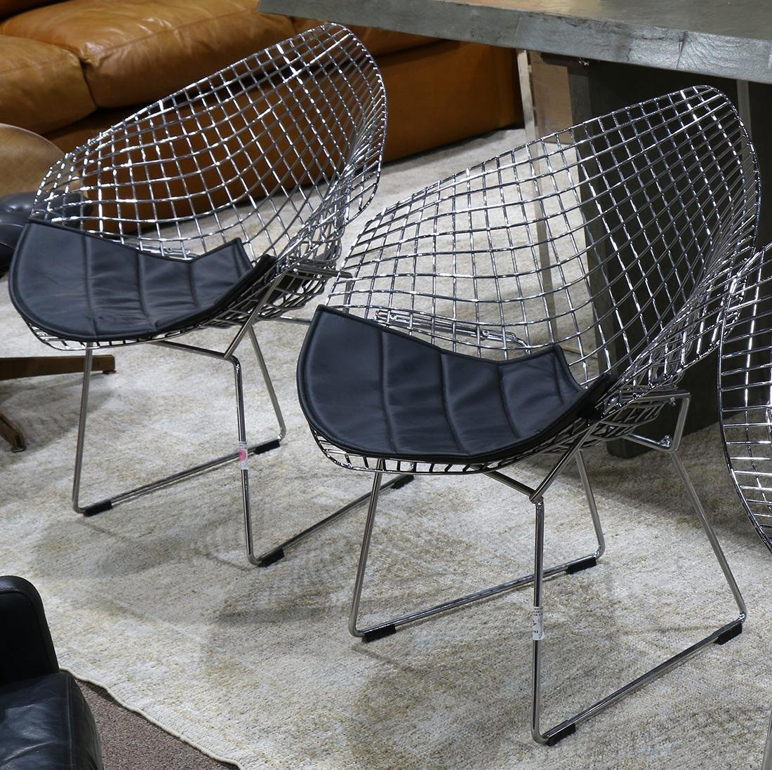 (lot of 2) Harry Bertoia style Diamond wire chairs