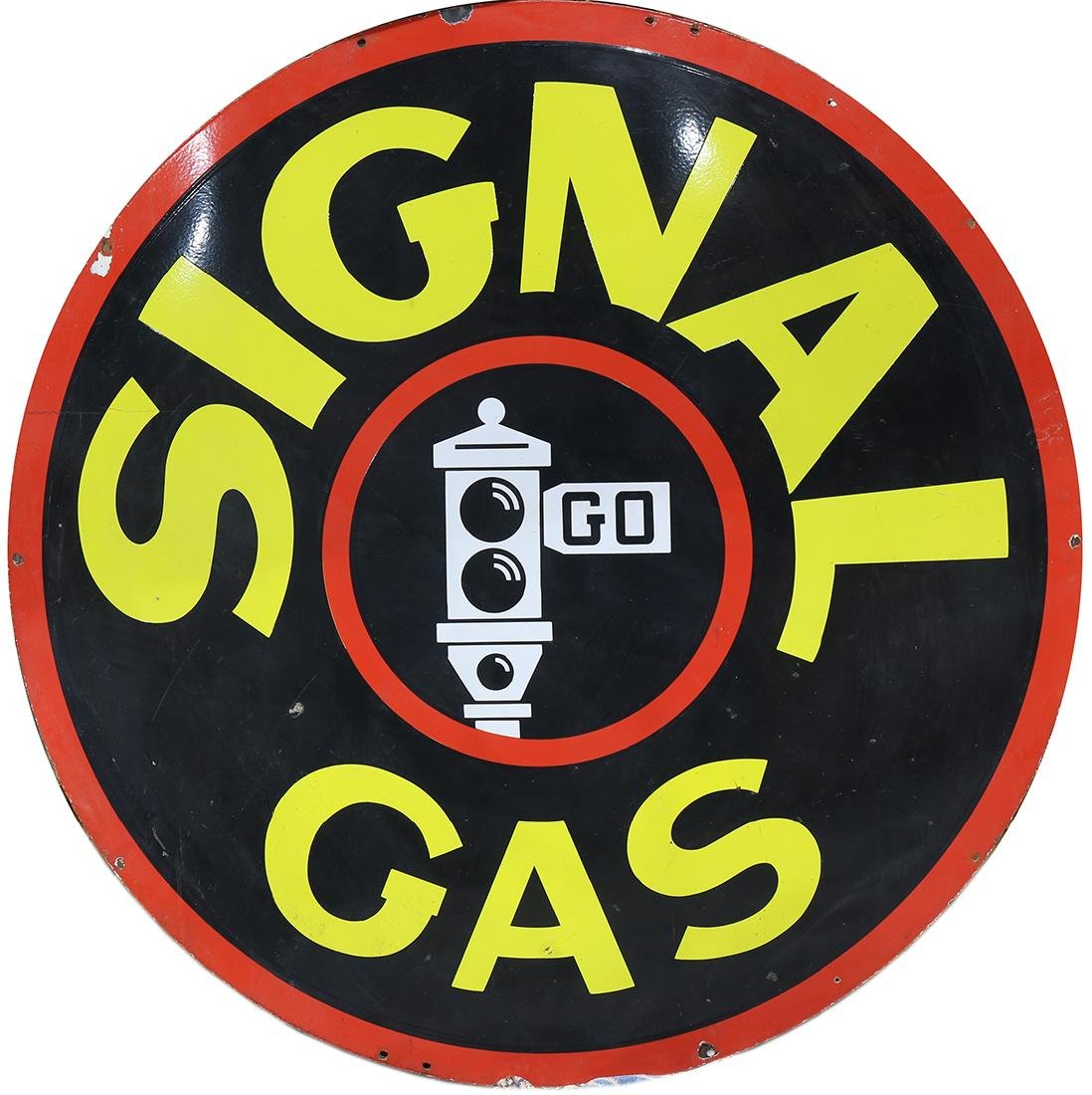 Signal Gas double sided porcelain sign