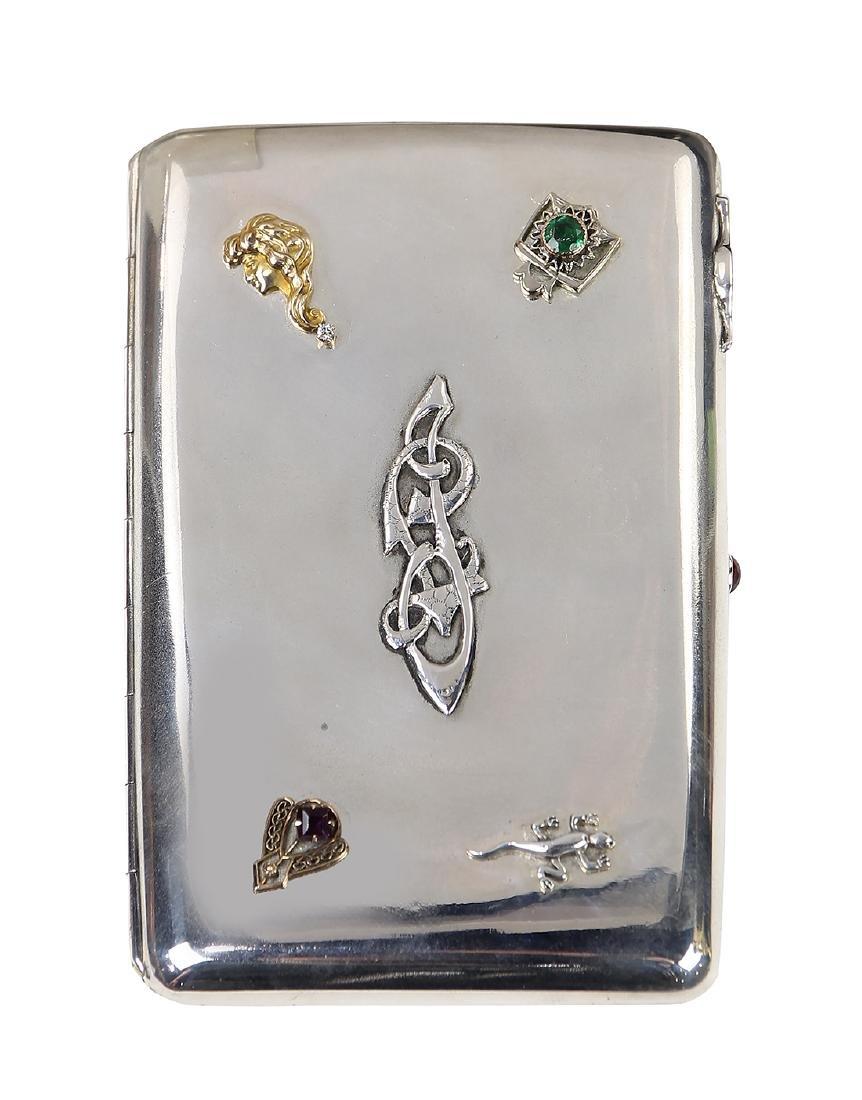 Russian sterling silver cigarette case, having a