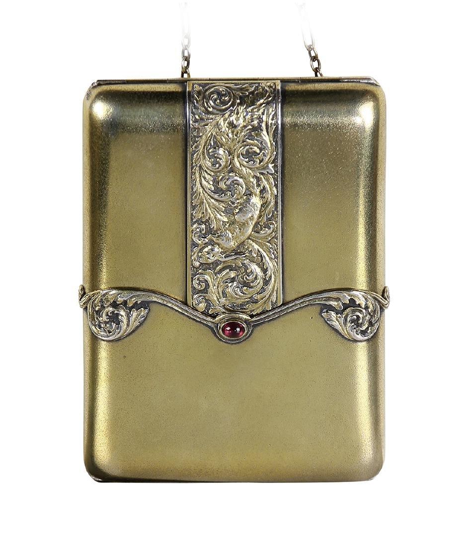 Russian gilt sterling silver cigarette case, having a