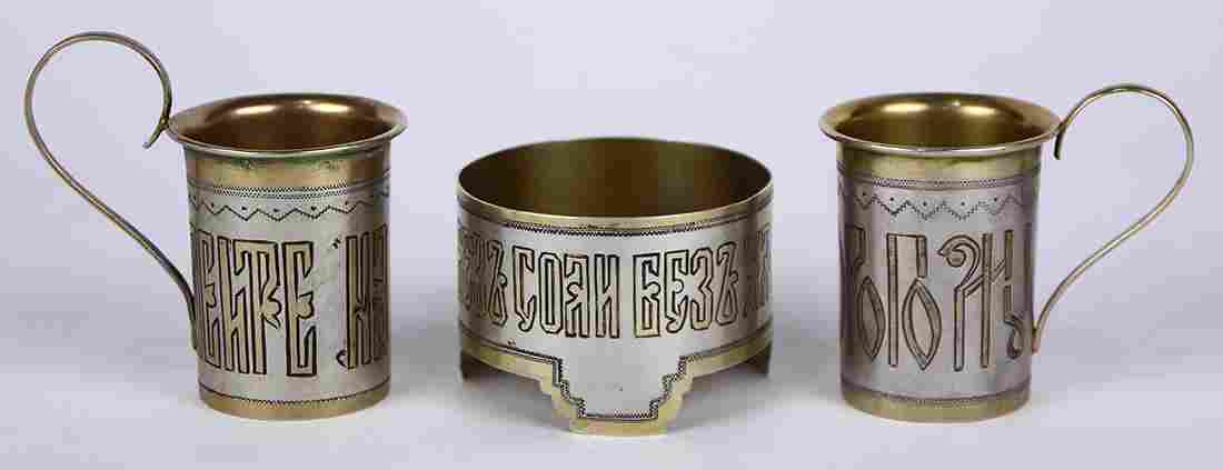 (lot of 3) Russian silver and gilt decorative group,