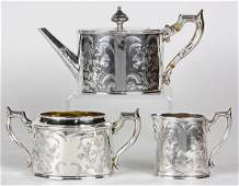 lot of 3 Wang Hing Chinese export sterling silver tea