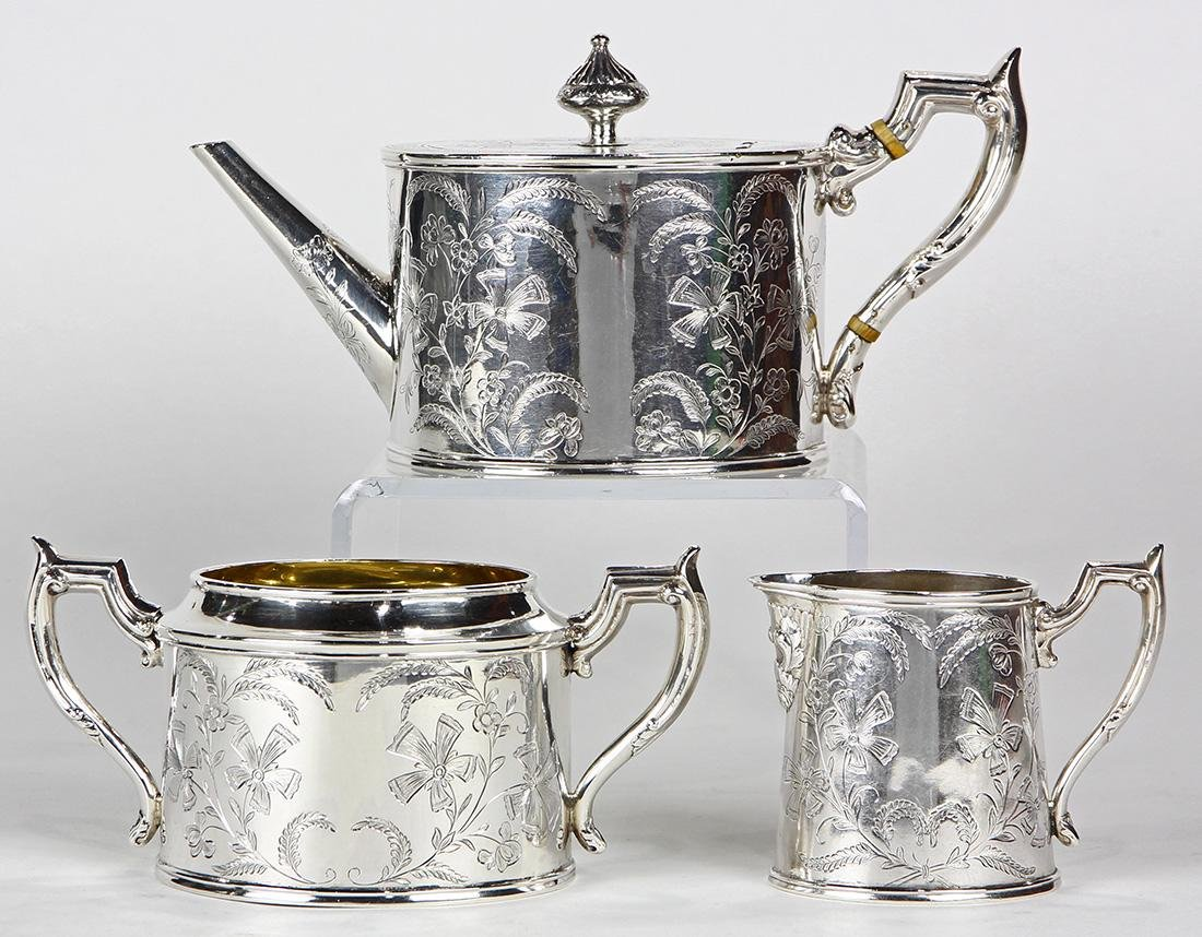 (lot of 3) Wang Hing Chinese export sterling silver tea