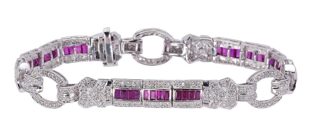Ruby, diamond and 14k white gold bracelet
