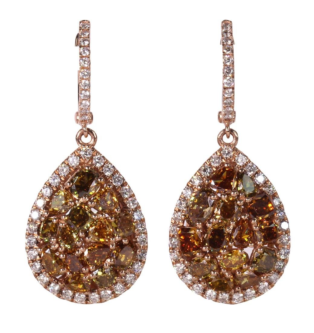 Pair of diamond and 14k rose gold earrings