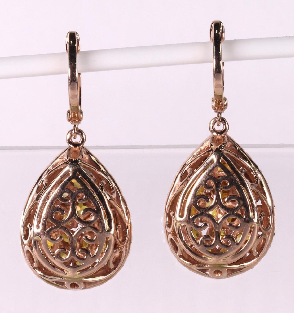 Pair of diamond and 14k rose gold earrings - 2