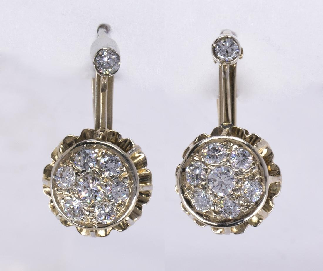Pair of diamond and 14k gold earrings