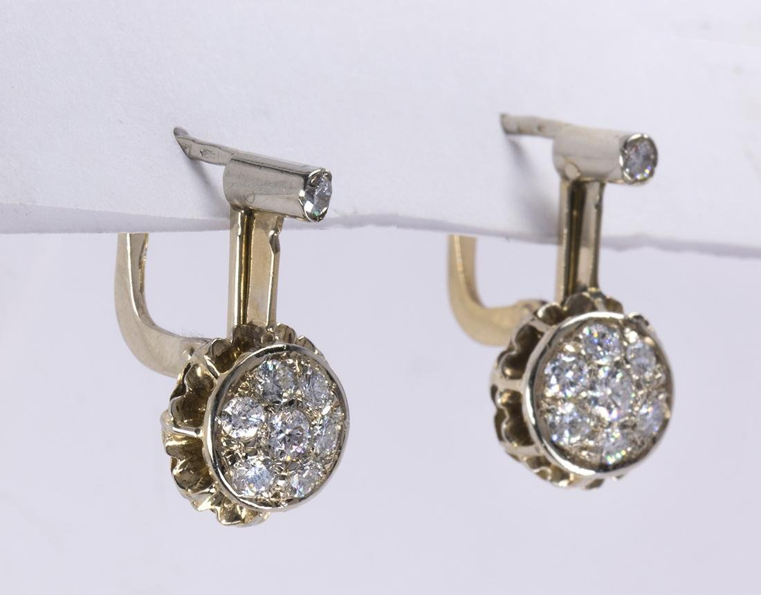 Pair of diamond and 14k gold earrings - 2