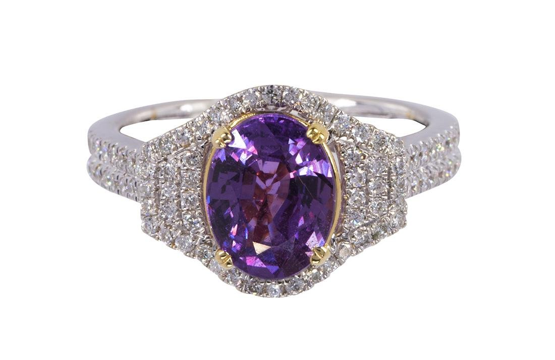 Pink sapphire, diamond and 14k white gold ring, AIGS