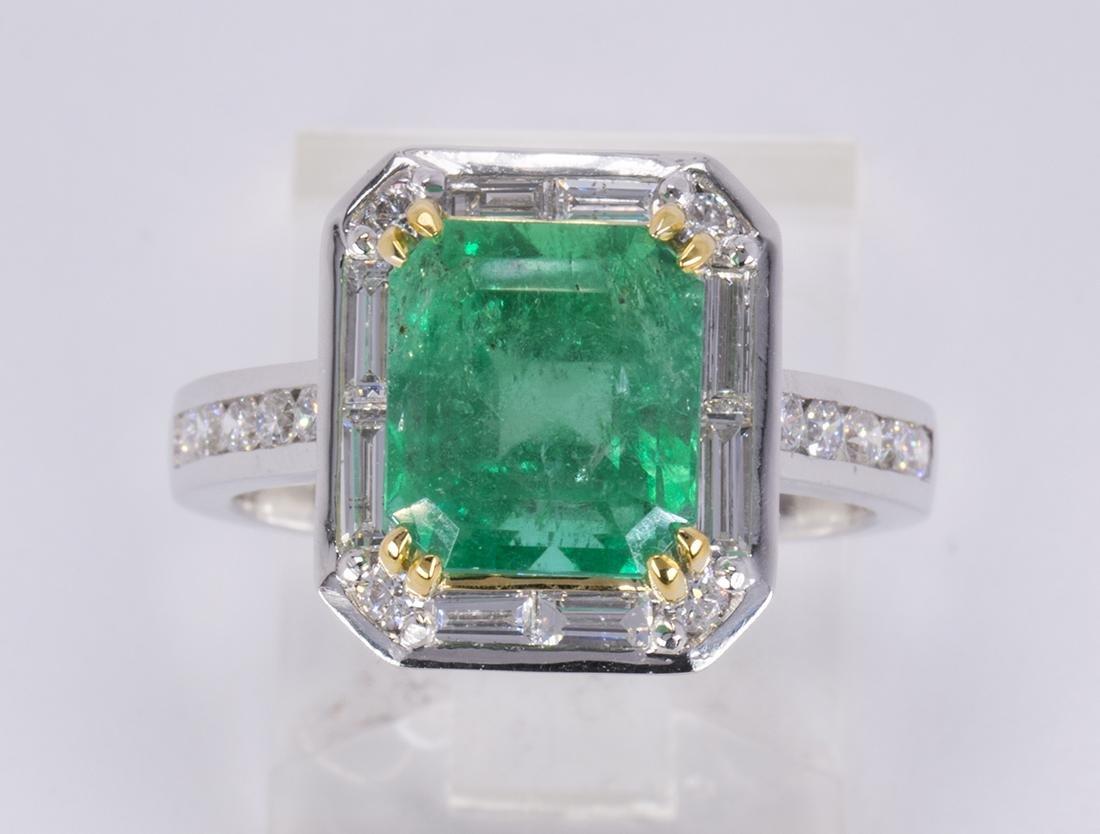 Columbian emerald, diamond and 14k white gold ring