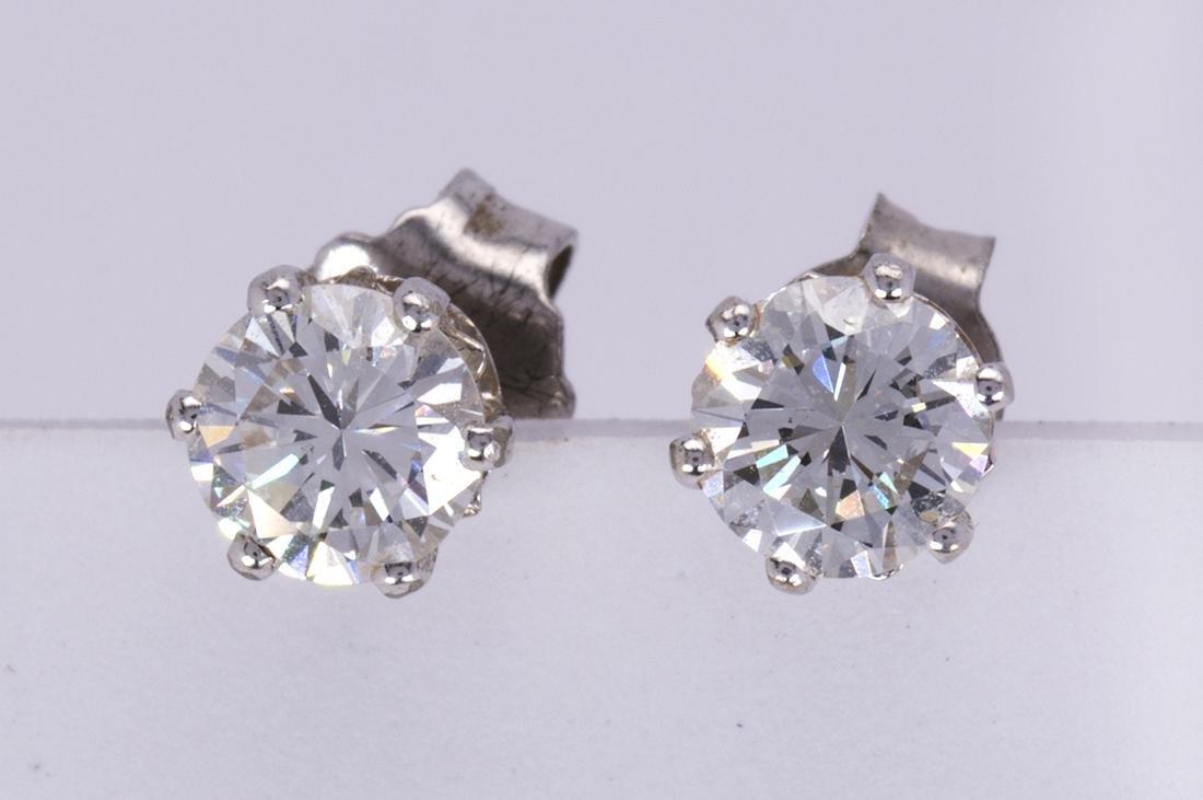 Diamond and 14k white gold earrings