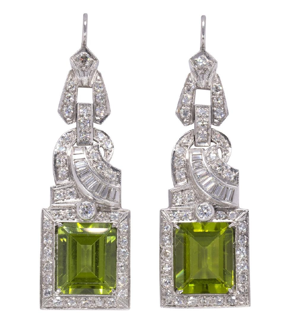 Pair of peridot, diamond and platinum earrings