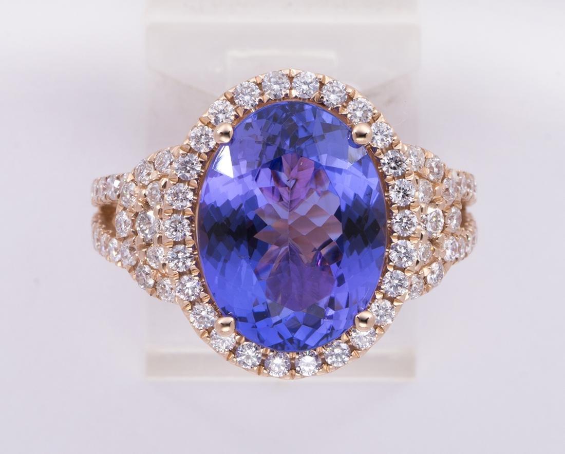 Tanzanite, diamond and 14k rose gold ring