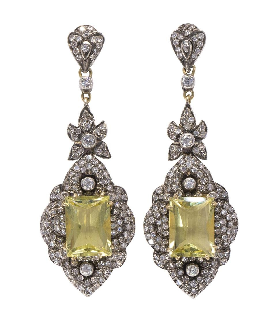 Pair of citrine, diamond, silver-topped and 18k yellow