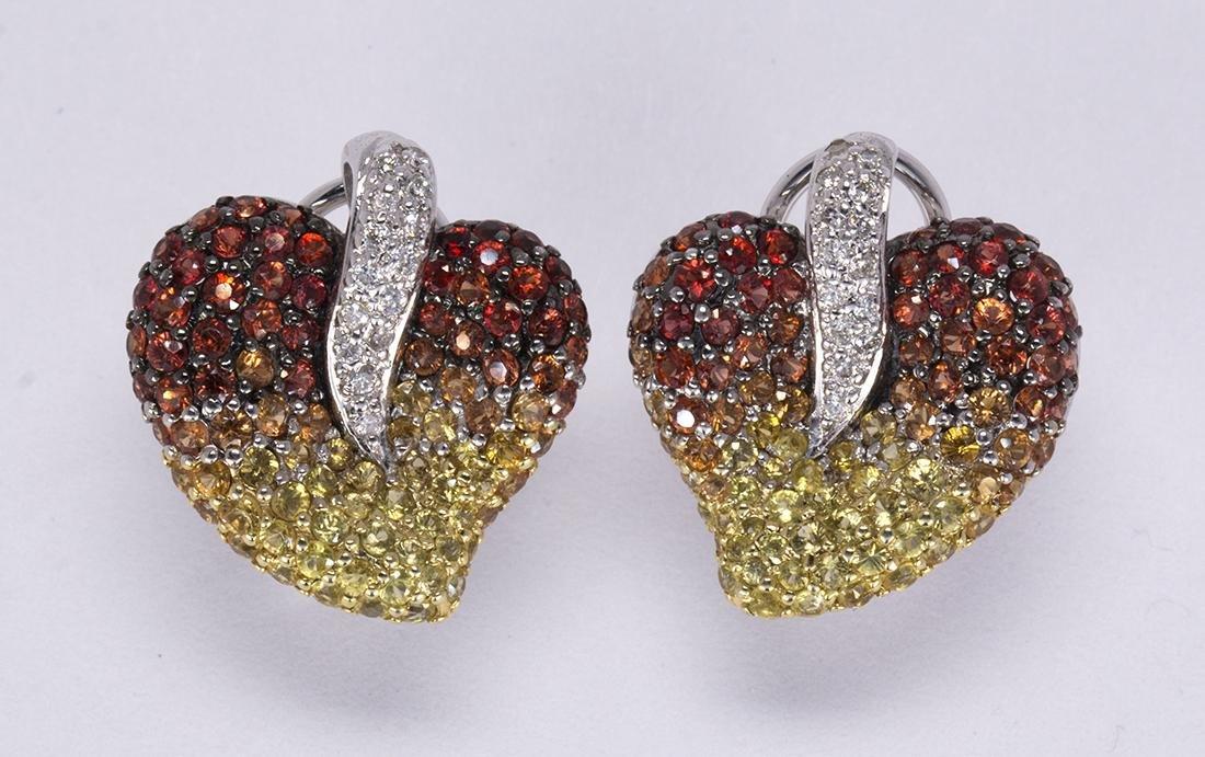 Pair of sapphire, diamond and 18k white gold flower