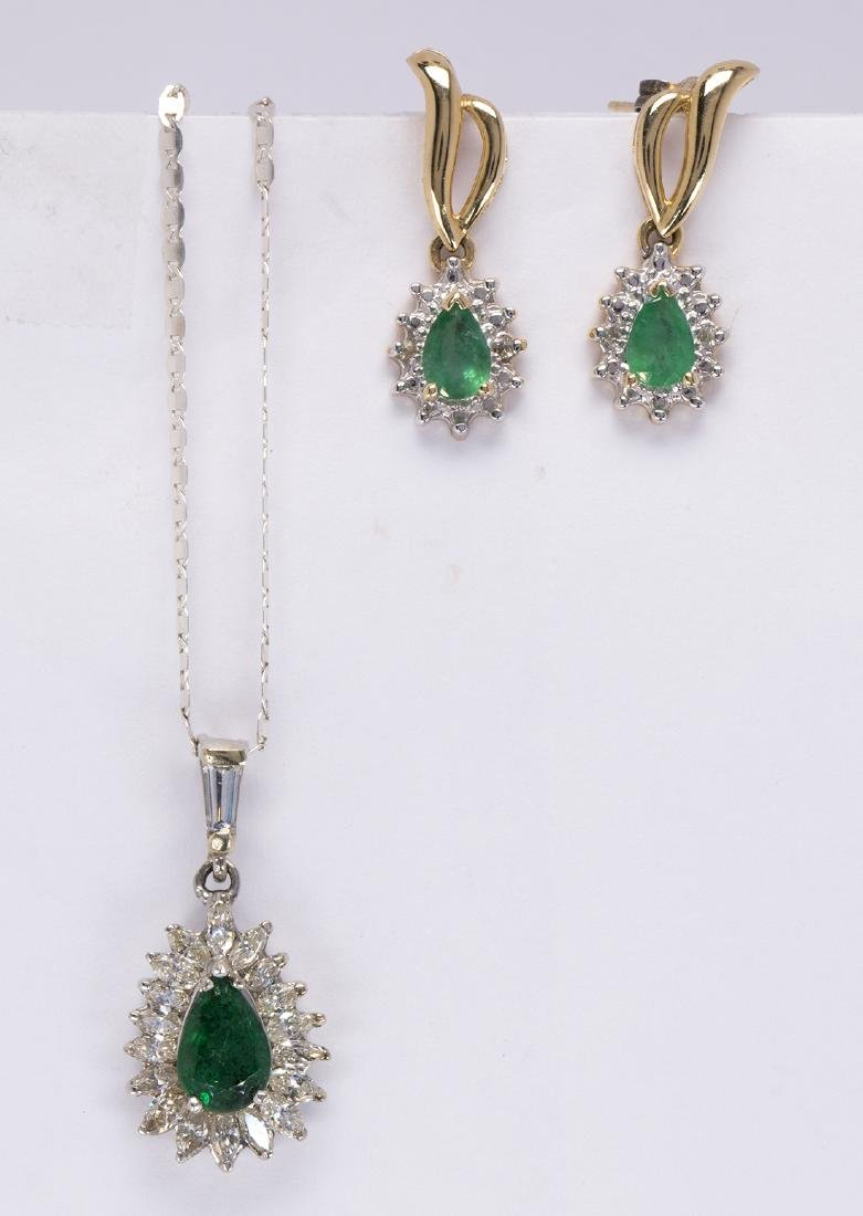 (Lot of 2) Emerald, diamond, gold and silver jewelry
