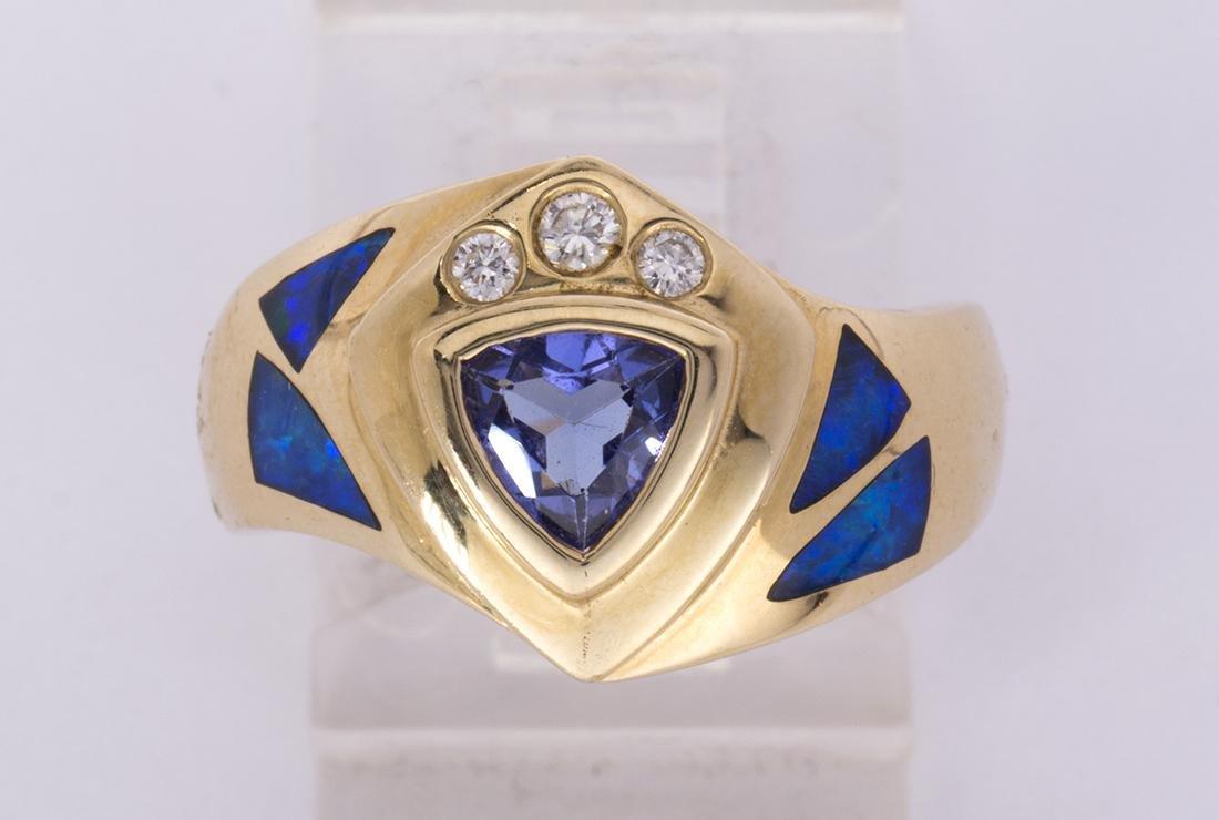 Tanzanite, diamond, opal and 14k yellow gold ring