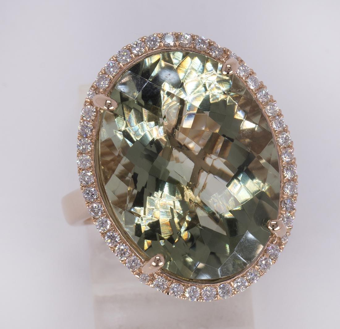 Green quartz, diamond and 14k yellow gold ring