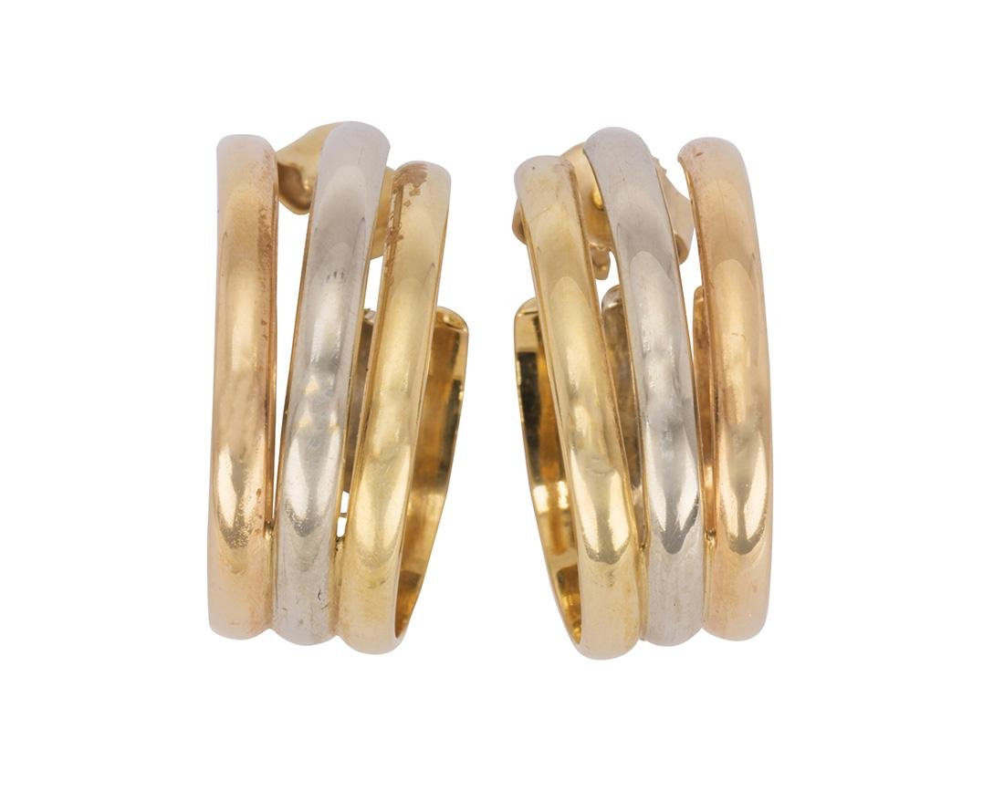 Pair of Cartier 18k tri-color gold earrings