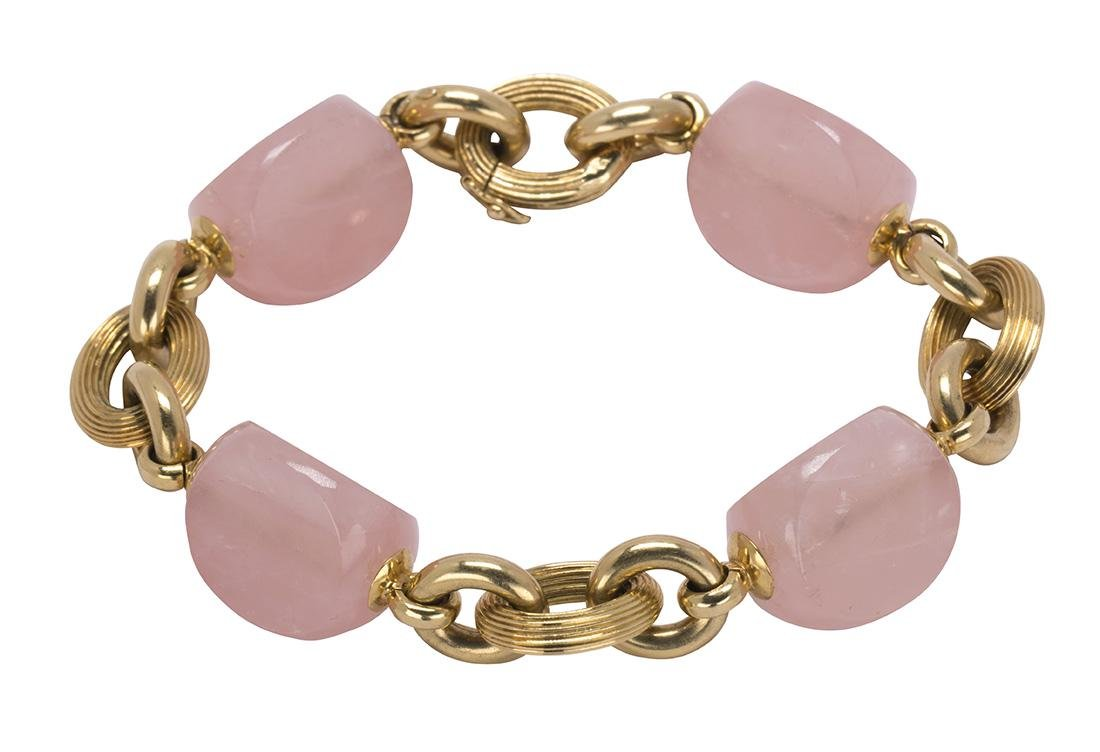 Rose quartz bead and 18k yellow gold bracelet