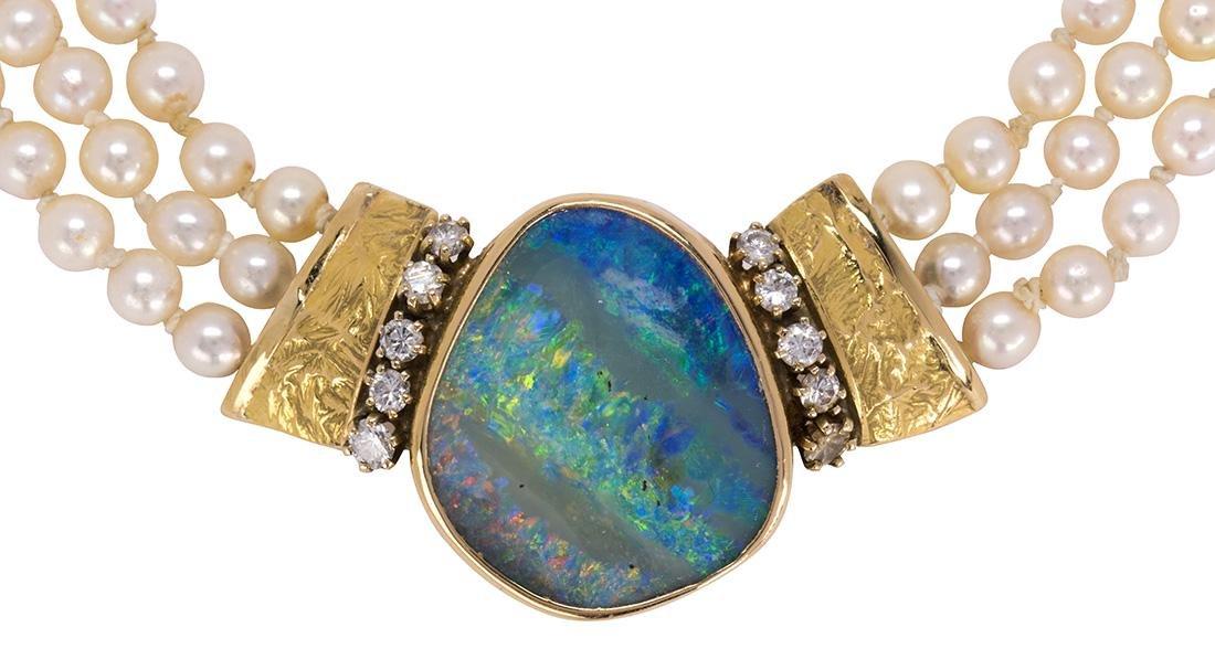 D. Egbert boulder opal, diamond, cultured pearl and 18k