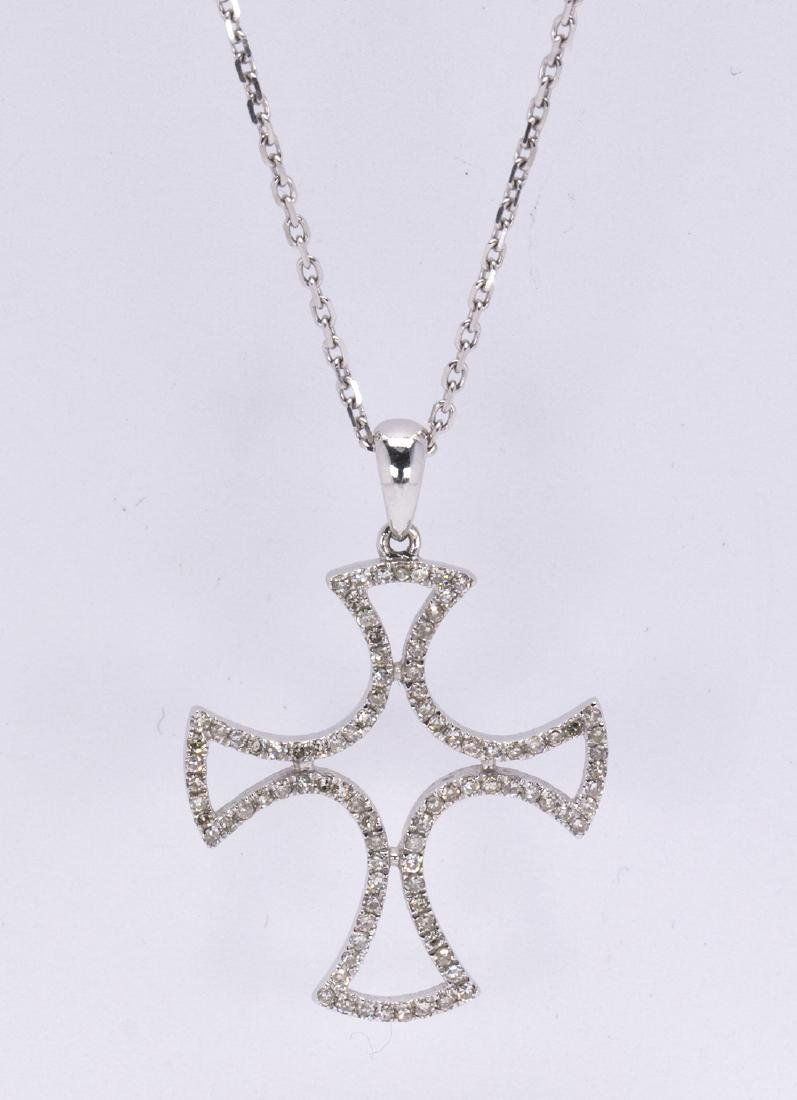 Diamond and 14k white gold cross pendant-necklace