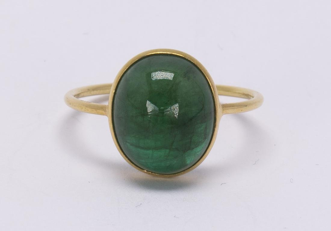 Emerald and 18k yellow gold ring